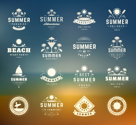 Illustration for Summer holidays design elements and typography set. Retro and vintage templates. Labels, Badges, Posters, T-shirts, Apparel. Vector set. Beach vacation, party, travel, tropical paradise, adventure. - Royalty Free Image