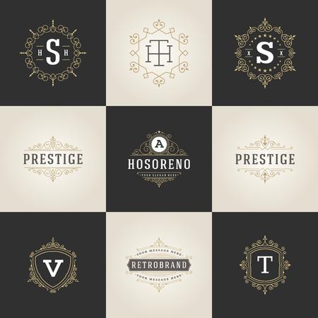 Illustration for Set Luxury template flourishes calligraphic elegant ornament lines. - Royalty Free Image