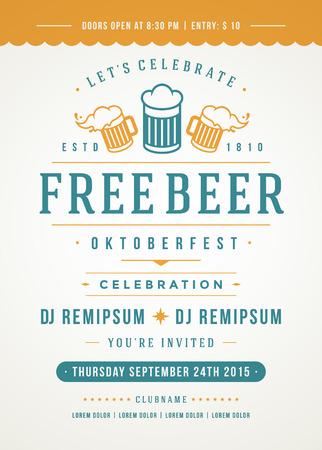 Ilustración de Oktoberfest beer festival celebration retro typography poster or flyer template. - Imagen libre de derechos