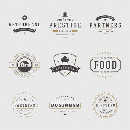 Photo for Retro Vintage Insignias or icon set. Vector design elements, business signs, icon, identity, labels, badges and objects. - Royalty Free Image