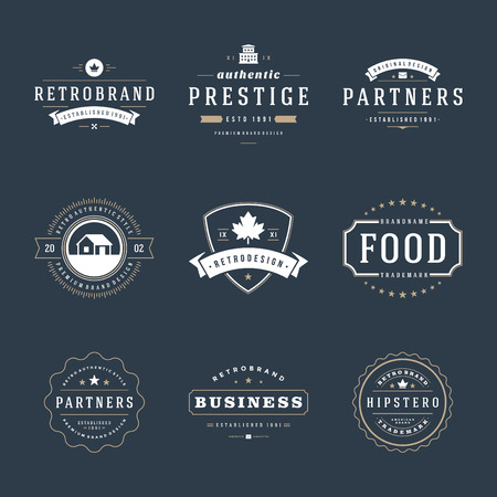 Illustration for Retro Vintage Insignias or icon set. Vector design elements, business signs, icon, identity, labels, badges and objects. - Royalty Free Image