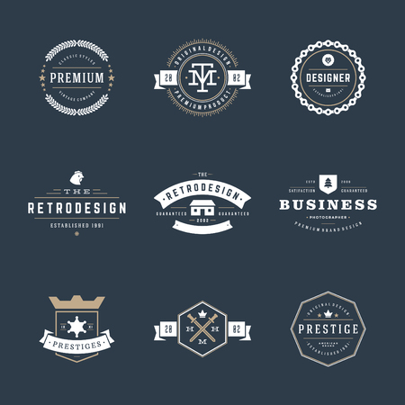 Illustration pour Retro Vintage Insignias or icon set. Vector design elements, business signs, icon, identity, labels, badges and objects. - image libre de droit
