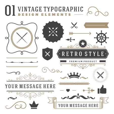 Illustration pour Retro vintage typographic design elements. Labels ribbons, logos symbols, crowns, calligraphy swirls, ornaments and other. - image libre de droit