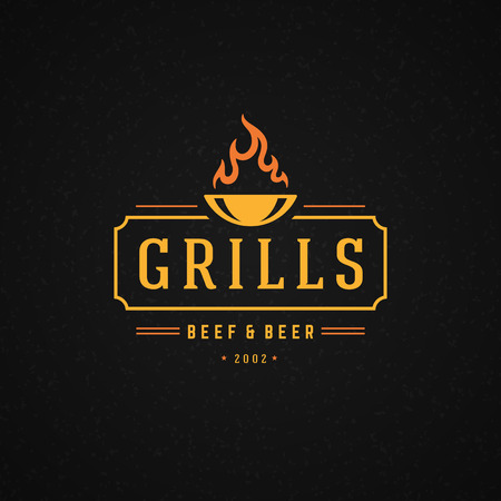 Illustration for Grill Design Element in Vintage Style for Logotype, Label, Badge and other design. Fire flame retro vector illustration. - Royalty Free Image