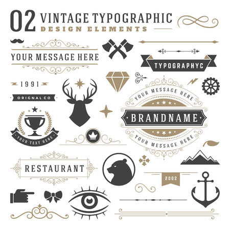 Illustration for Retro vintage typographic design elements. Arrows, labels ribbons, logos symbols, crowns, calligraphy swirls ornaments and other. - Royalty Free Image