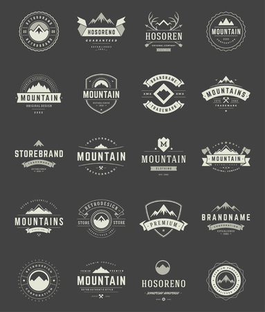 Illustration pour Set Mountains Logos, Badges and Labels Vintage Style.  Design elements retro vector illustration. - image libre de droit