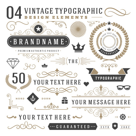 Illustration pour Retro vintage typographic design elements. Arrows, labels ribbons, logos symbols, crowns, calligraphy swirls ornaments and other. - image libre de droit
