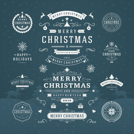 Photo for Christmas Decorations Vector Design Elements. Typographic elements, Symbols, Icons, Vintage Labels, Badges, Ornaments and Ribbon, set. Flourishes calligraphic. Merry Christmas Happy Holidays wishes. - Royalty Free Image