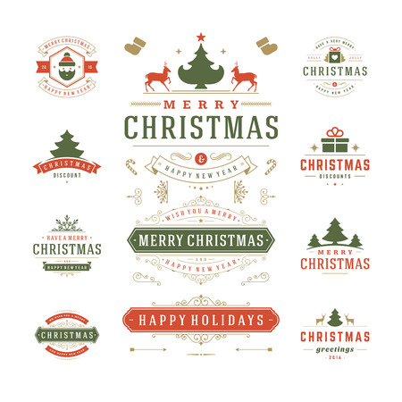 Photo for Christmas Labels and Badges Vector Design. Decorations elements, Symbols, Icons, Frames, Ornaments and Ribbons, set. Typographic Merry Christmas and Happy Holidays wishes. - Royalty Free Image