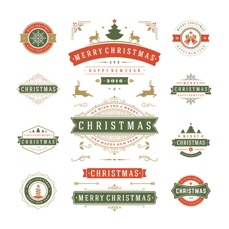 Illustration for Christmas Labels and Badges Vector Design. Decorations elements, Symbols, Icons, Frames, Ornaments and Ribbons, set. Typographic Merry Christmas and Happy Holidays wishes. - Royalty Free Image