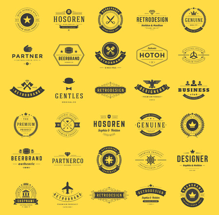 Illustration for Retro Vintage Logotypes or insignias set. Vector design elements, business signs, logos, identity, labels, badges, shirts, ribbons and other branding objects. - Royalty Free Image
