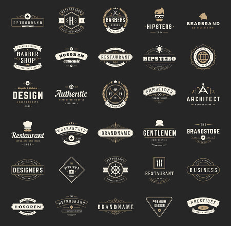 Ilustración de Retro Vintage Logotypes or insignias set. Vector design elements, business signs, logos, identity, labels, badges, shirts, ribbons and other branding objects. - Imagen libre de derechos