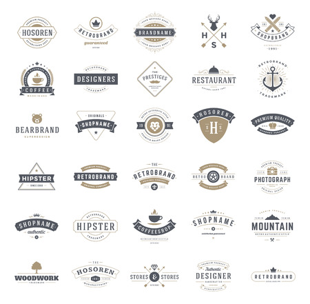Photo pour Retro Vintage Logotypes or insignias set. Vector design elements, business signs, logos, identity, labels, badges, ribbons, stickers and other branding objects. - image libre de droit