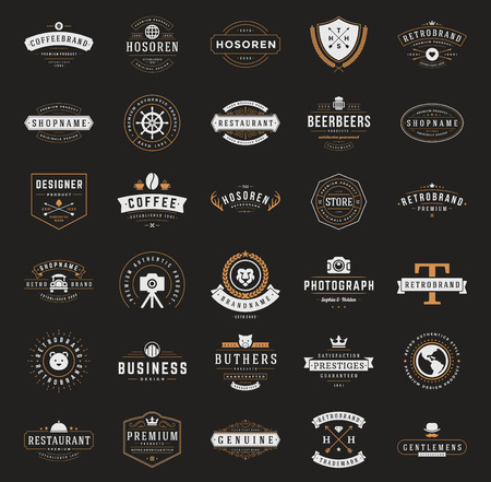 Illustration for Retro Vintage Logotypes or insignias set. Vector design elements, business signs, logos, identity, labels, badges, ribbons, stickers and other branding objects. - Royalty Free Image