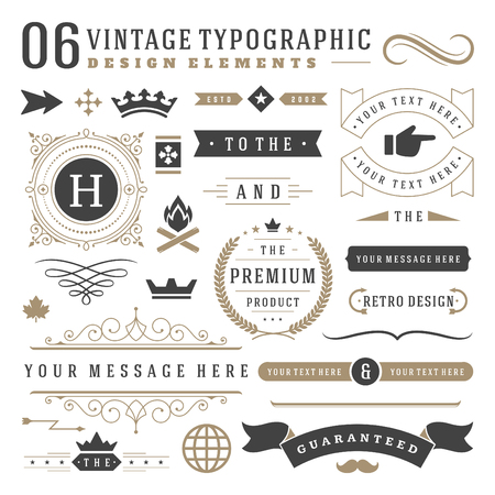 Illustration pour Retro vintage typographic design elements. Labels ribbons, logos symbols, crowns, calligraphy swirls, ornaments and other. - image libre de droit
