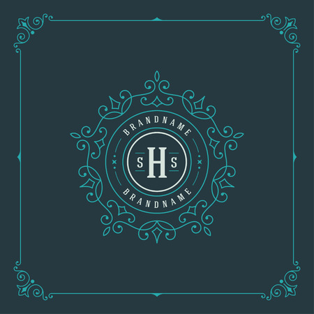 Ilustración de Luxury Logo template flourishes calligraphic elegant ornament lines. Business sign, identity for Restaurant, Royalty, Boutique, Cafe, Hotel, Heraldic, Jewelry, Fashion and other vector illustration - Imagen libre de derechos