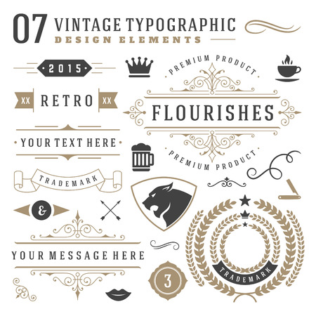 Ilustración de Retro vintage typographic design elements. Labels ribbons, logos symbols, crowns, calligraphy swirls, ornaments and other. - Imagen libre de derechos