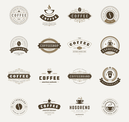 Illustration for Coffee Shop Logos, Badges and Labels Design Elements set. Cup, beans, cafe vintage style objects retro vector illustration. - Royalty Free Image