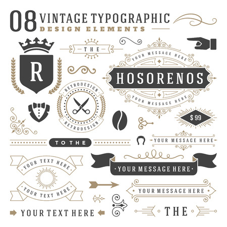 Ilustración de Retro Vintage   insignias set. Vector design elements, business signs,  identity, labels, badges, ribbons, stickers and other branding objects. - Imagen libre de derechos