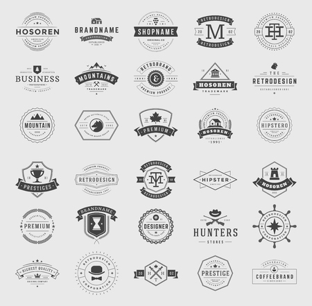 Ilustración de Retro Vintage Logotypes or insignias set. Vector design elements, business signs, logos, identity, labels, badges, ribbons, stickers and other branding objects. - Imagen libre de derechos