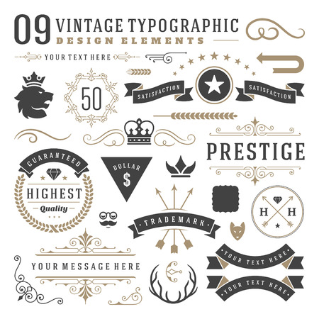 Foto de Retro vintage typographic design elements. Labels ribbons, logos symbols, crowns, calligraphy swirls, ornaments and other. - Imagen libre de derechos