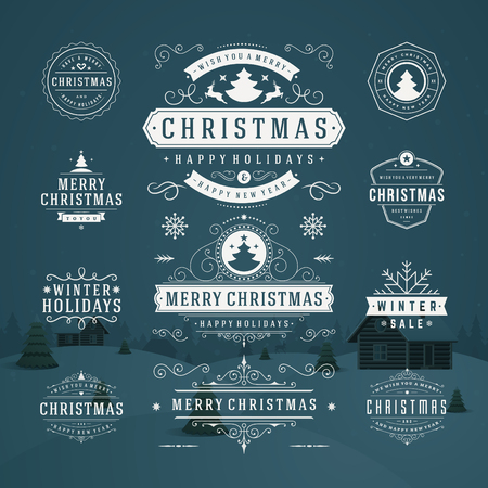 Illustration for Christmas Decorations Vector Design Elements. Typographic elements, Symbols, Icons, Vintage Labels, Badges, Frames, Ornaments set. Flourishes calligraphic. Merry Christmas and Happy Holidays wishes. - Royalty Free Image