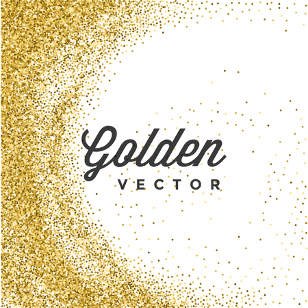 Illustration for Gold Glitter Sparkles Bright Confetti white vector background. Good for Greeting Gold Cards, Luxury Invitation, Advertising, Voucher, Certificate, Banners, Quote Mark Text. Golden Texture, Shiny Gold. - Royalty Free Image