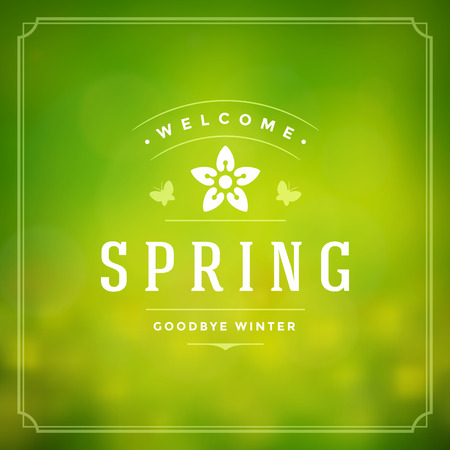 Illustration pour Spring Vector Typographic Poster or Greeting Card Design. Beautiful Blurred Lights with Bokeh and Flower Field. Spring Background, Spring Label, Spring Flowers, Spring Sale, Spring Advertising. - image libre de droit