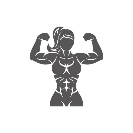 Ilustración de Bodybuilder female silhouette isolated on white background vector illustration. Vector fitness gym graphics illustration. - Imagen libre de derechos