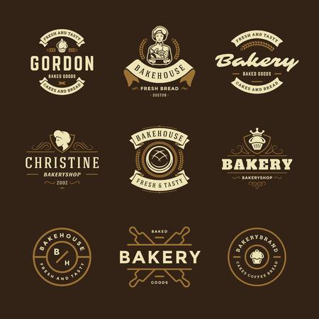 Ilustración de Bakery logos and badges design templates set vector illustration. Good for bakehouse and cafe emblems. Retro typography elements and silhouettes. - Imagen libre de derechos