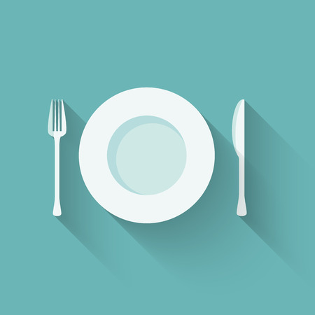 Vector illustration of a flat plate and cutlery with long shadows