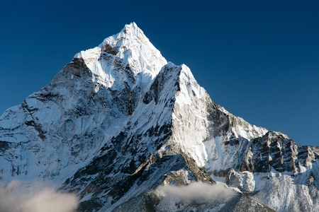 Foto de beautiful view of mount Ama Dablam  way to Everest base camp  Nepal - Imagen libre de derechos