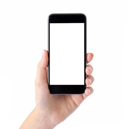 Foto de Isolated female hand holding a phone with white screen - Imagen libre de derechos