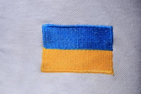 Photo pour Ukrainian flag embroidered - image libre de droit