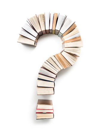 Foto de Question Mark formed from books, shot from above on white background - Imagen libre de derechos