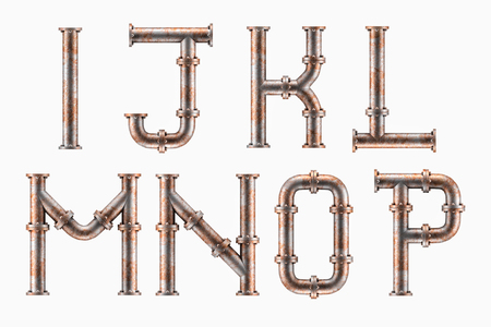 Photo pour Alphabet made of rusty metal piping elements - letters I to P - image libre de droit
