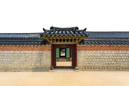Photo for Traditional door, wall and roof korean style on isolated white background in south korea - Royalty Free Image