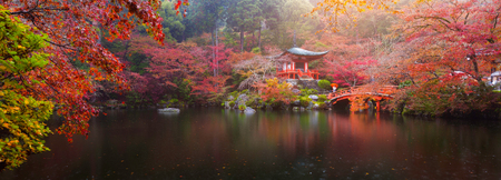 Photo pour Panorama view of Daigo-ji temple with colorful maple trees in autumn, Kyoto, Japan - image libre de droit
