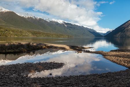Photo for lake Rotoiti in winter, Nelson Lakes National Park, New Zealand - Royalty Free Image