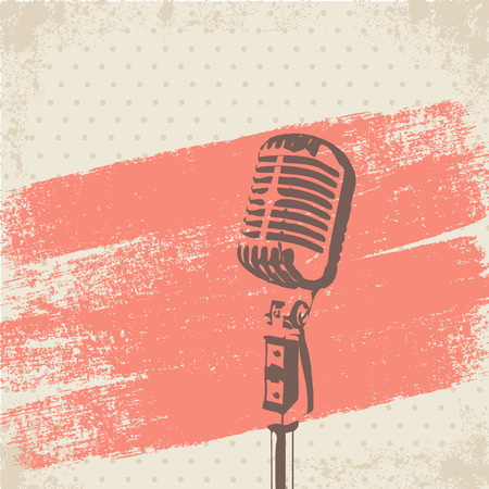 Illustrazione per Retro Microphone Brush Stencil vector - Immagini Royalty Free