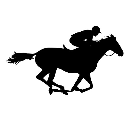 Ilustración de Horse race. Derby. Equestrian sport. Silhouette of racing horse with jockey on isolated background. Horse and rider. Racing horse and jockey silhouette.  - Imagen libre de derechos