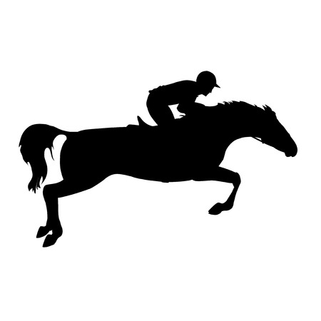 Ilustración de Horse race. Horse and rider. Derby. Equestrian sport. Silhouette of racing horse with jockey on isolated background. Racing horse and jockey silhouette. - Imagen libre de derechos