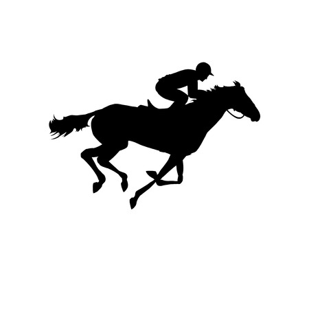 Ilustración de Horse race. Silhouette of racing horse with jockey on isolated background. Racing horse and jockey silhouette. Horse and rider. Derby. Equestrian sport.  - Imagen libre de derechos