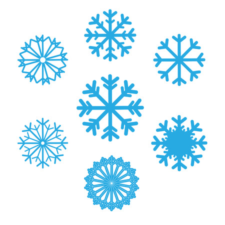 Illustration pour Set of snowflakes vector icons. Background for winter and christmas theme. Set snowflakes flat different shaped. Snowflake symbol, badge blue color on isolated background - image libre de droit