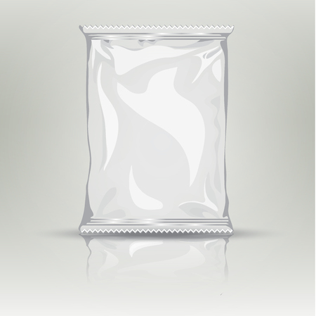 Illustration pour Blank white realistic foil snack pack grayscale template. Foil package with place for your design and branding. Product packing bag. Blank plastic pocket bag - image libre de droit