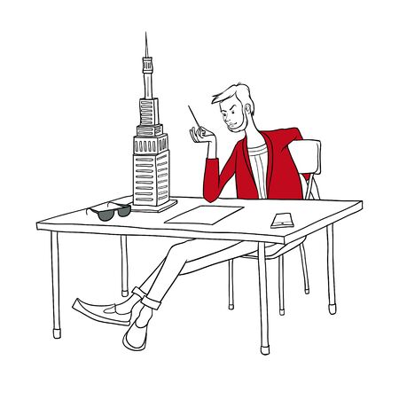 The vector image. Stylish male architect sitting at a large table on which stands the layout of the building, laying the sheet of paper, glasses and smart phone.