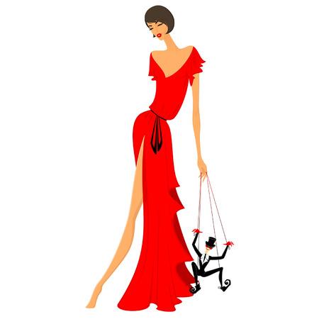 Illustration pour beautiful lady in a red dress - image libre de droit