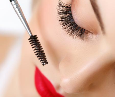 Photo pour Woman eye with beautiful makeup and long eyelashes - image libre de droit