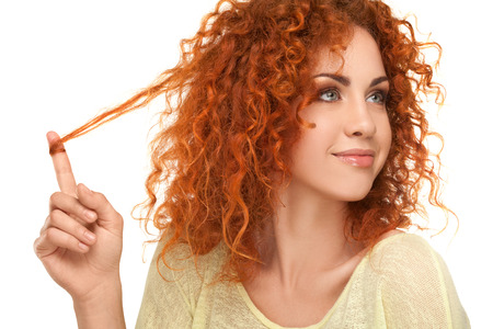 Photo pour Red Hair. Beautiful Woman with Curly Hair. High quality image. - image libre de droit