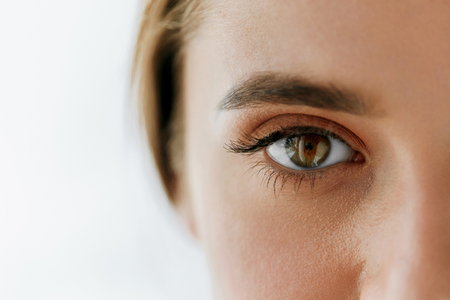 Foto de Eye Health And Care. Closeup Of Beautiful Woman Big Brown Eye And Eyebrow. Girl Eye Smooth Healthy Skin And Perfect Natural Makeup On White Background. High Resolution Image - Imagen libre de derechos